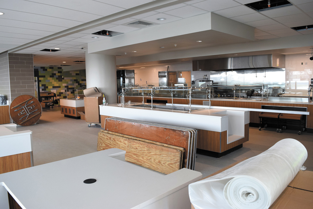 The cafeteria on the seventh floor of the hospital will offer many healthy options for patients, families and caregivers, as well as some comfort food options. (Photos/Patrick Hoff)