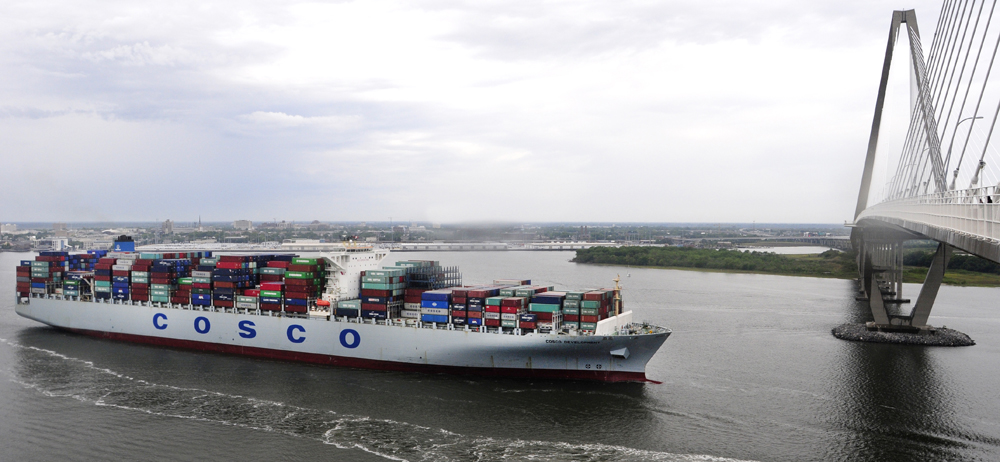 The Port of Charleston recently handled its largest ship to date, the 13,000-TEU Cosco Development. The Charleston Harbor deepening project will enable the port to handle bigger cargo ships without tidal restrictions. (Photo/Provided)