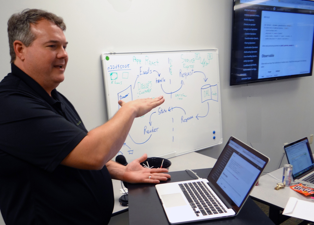 Tom Wilson is one of two instructors at the Mount Pleasant-based JRS Coding School, a 12-week coding boot camp that teaches adults how to code. (Photo/JRS Coding School)