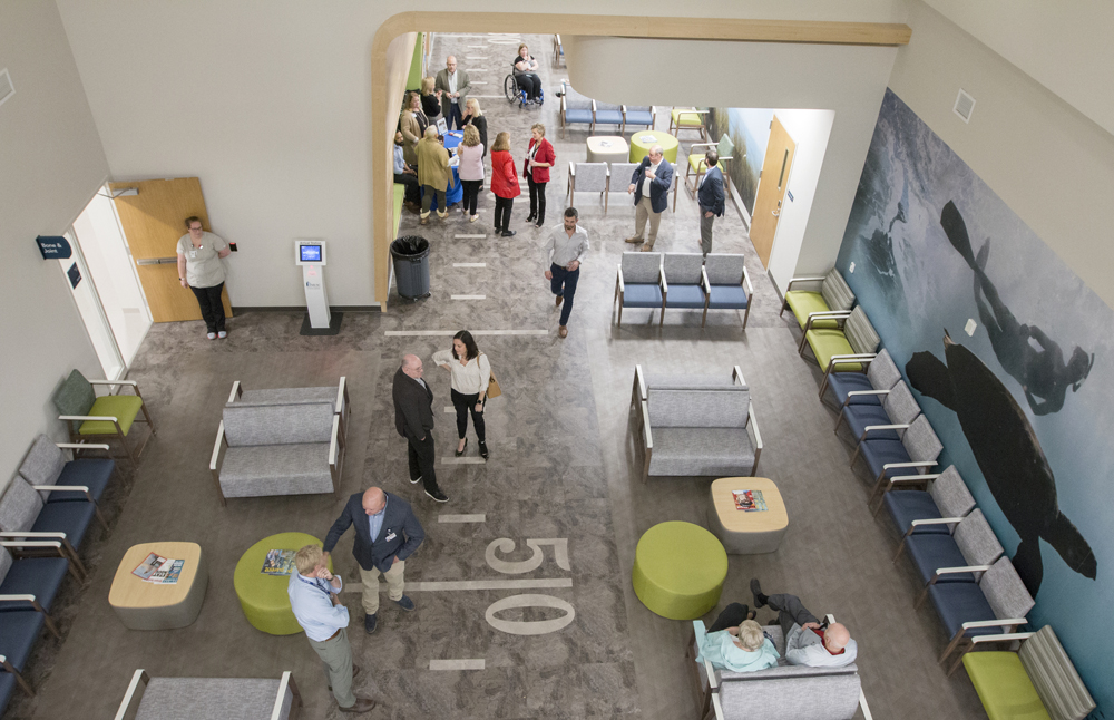 People congregate in the waiting area of the West Ashley Medical Pavilion during an opening celebration on Monday. (Photo/Provided)