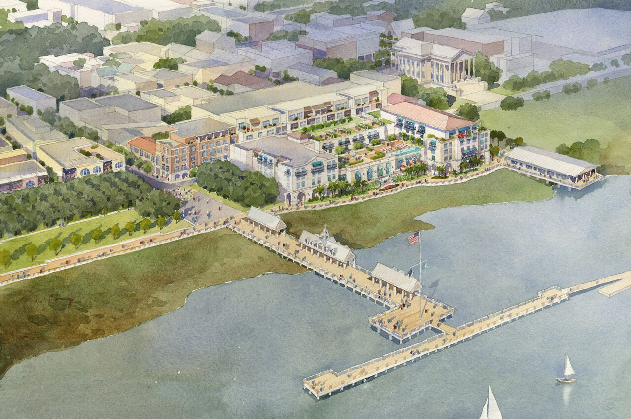 Lowe Enterprises plans to open a hotel on the site where the ports authority's headquarters stands today. (Rendering/Lowe Enterprises)